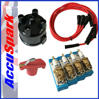 Ford Pinto IRIDIUM Spark Plugs ,Cap+Red Rotor + Red leads  For Motorcraft