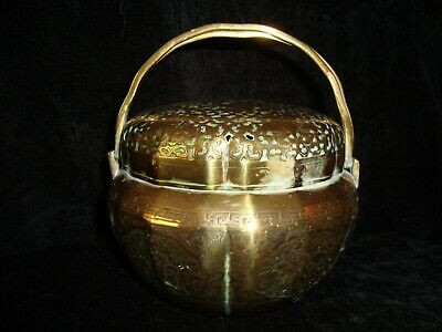 Antique Chinese Finely Engraved Lobed Brass Pot & Lid