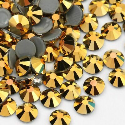 Top Quality Gold Color Hematite Aurum Hot Fix Rhinestone Crystal Glass 1440 Pcs