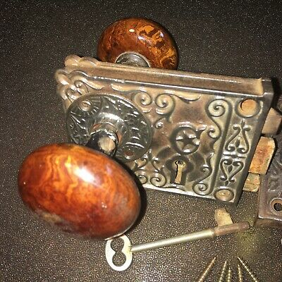 Antique Eastlake Door Hardware Victorian Ornate Mortise Rim Dead Bolt Lock + Key