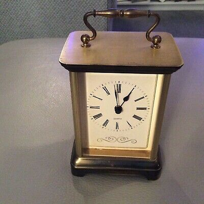 Vintage St Michaels carriage or mantle clock brass West Germany
