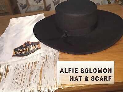 PEAKY BLINDER ALFIE SOLOMON flat brimmed Hat & white scarf with OPTIONAL logo.