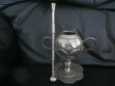 Antique Rare Yerba Mate Columbia Cup & Straw Bombilla Silver Set