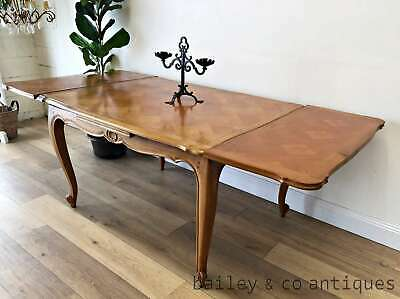 Vintage French Extension Dining Table Marquetry Top Louis Style- TA106