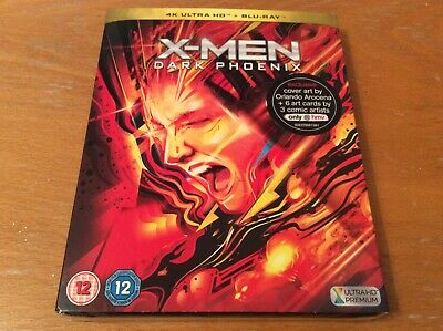 X-Men dark Phoenix 4K Ultra HD Blu ray. HMV slipcover + art cards. Rare. OOP.