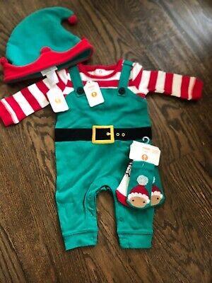 NWT Gymboree baby boy girl green elf hat romper HOLIDAY 4-piece SET 0 3 6 TWINS
