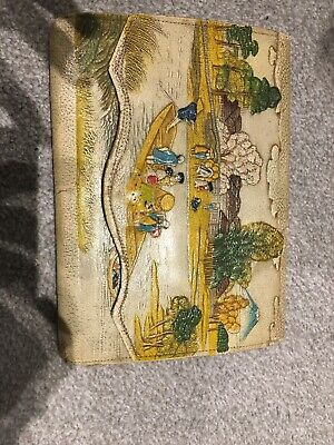 Chinese 1950s Vintage Clutch Bag Mountain Scenes Water People