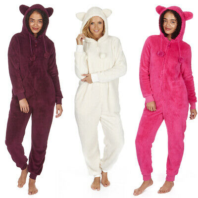 Ladies Women's Cosy Snuggle Hooded 1Onesie with Ears All-in-One Jumpsuit - New