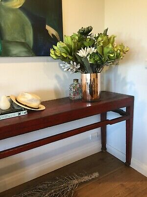 CHINESE RED EXTRA LONG WALL/HALL TABLE  ANTIQUE Vaucluse/NSW