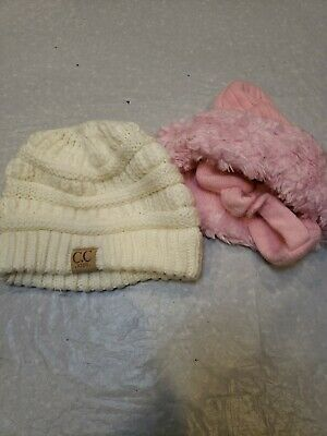 C.C Kids Beanie Ponytail Hole Tobys Pink Fur Lot Of Two Girls Hats