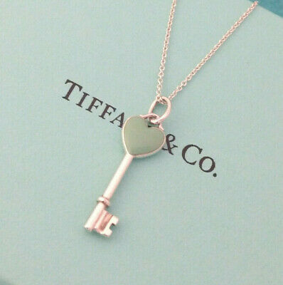 "Tiffany & Co. Blue Enamel Heart Key Charm Pendant Necklace, 18"", Sterling Silver"