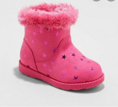 Toddler Girls Fleece Ankle Fashion Boots - Cat & Jack 5t 5 years Pink Stars New!