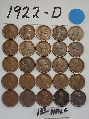 1922-D  CENT HALF ROLL SOLID DATE = 25 LINCOLN WHEAT PENNIES((8 + ships free)