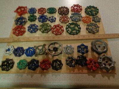 Lot of 38 VINTAGE WATER FAUCET KNOB VALVES HANDLE STEAMPUNK INDUSTRIAL ART CRAFT