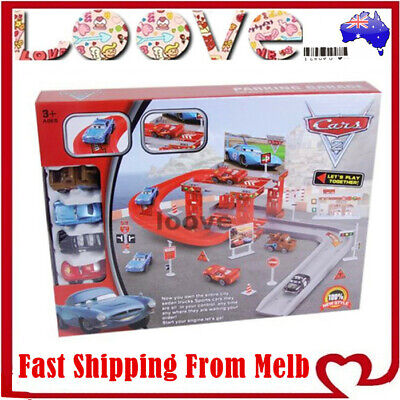 Disney Lightning McQueen Kids Car Park Garage Racing Track Gift Toy PIXAR Play