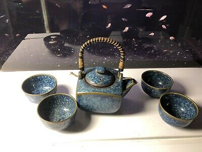 Teavana Denim Blues Tea Set. Made In Japan. Used In Great Condition. Full Set