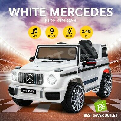 Kids Ride-On Car Licensed Mercedes-Benz AMG Electric 12V w/Remote Control White