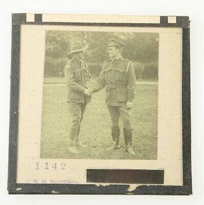 MAGIC LANTERN SLIDE Australian and British (?) Soldiers Shake Hands WW1?