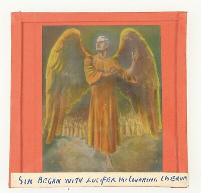 "MAGIC LANTERN SLIDE Religious ""Sin Began with Lucifer…"" c1900? Mormon? SATAN"
