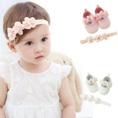 Infant Baby Girl Flower Shoes Sneaker Anti-slip Soft Sole Toddler Shoes+Hairband