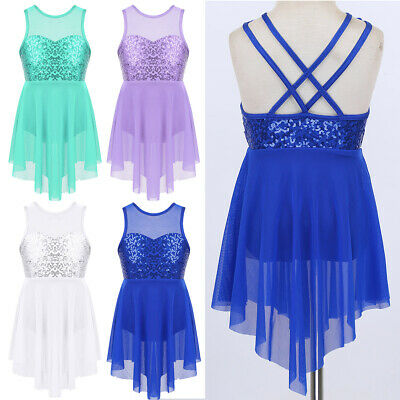 Kids Girls Modern Lyrical Dance Costumes Sequins Criss-Cross Back Skating Dress
