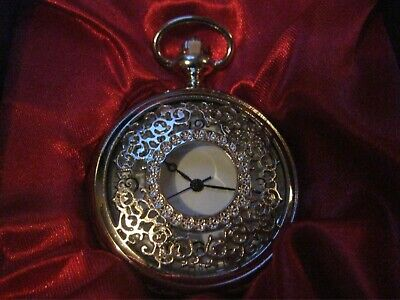Brand New Boxed Pocket Watch Silver Faced With Dial Peeping Through    (N)