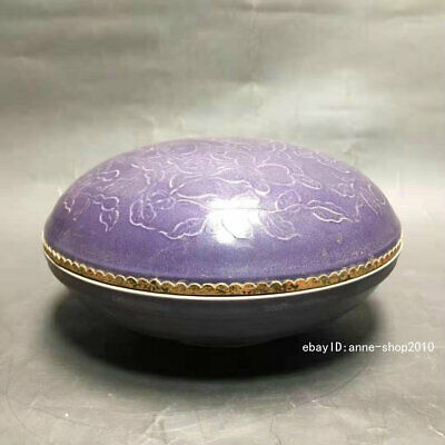 Antique Old Chinese Dynasty Purple glaze Porcelain Pottery Rouge box ALWJ