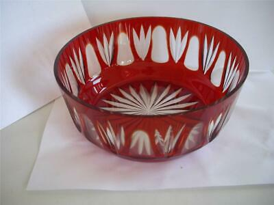 Art Deco Bohemian Czech Ruby Red Cut to Clear Crystal Glass Cup Bowl