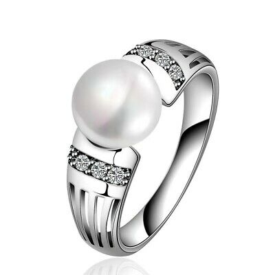 Fashion Women White Pearl 925 Silver Rings Wedding Party Ring Size 5-11