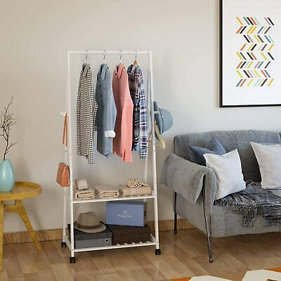 Clothes Rail Garment Rack Hanging Stand Coat Wardrobe W/Wheel Shoe Storage Shelf