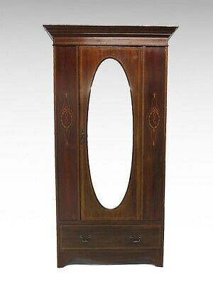 Antique Edwardian Mahogany inlaid mirror door wardrobe with drawer #2486L
