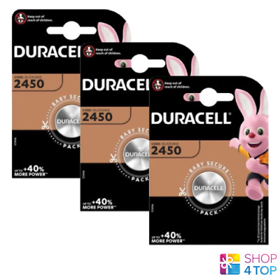 3 Duracell Cr2450 Lithium Batteries 3V Coin Cell Dl2430 Br2430 Exp 2027 New