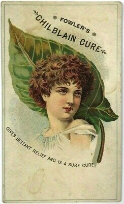 Fowler's Chilblain Cure Quack Medicine Short Hair Woman Green Leaf Trade Card