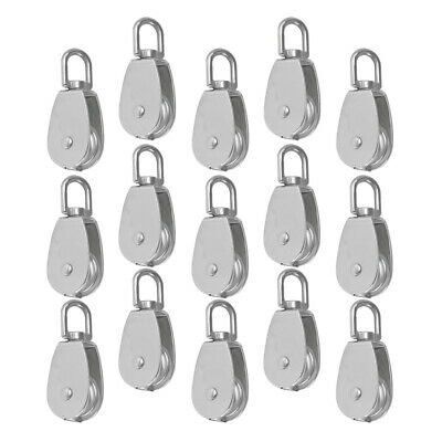 15pcs M15 15mm Silver Swivel Stainless Steel 304 Wire Rope Pulley Block
