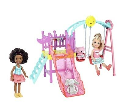 Barbie Chelsea Swing And Slide Playset 2 Dolls And Animals Fun Jungle Gym Girls