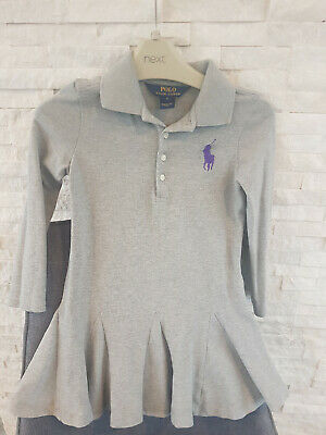 Genuine girls grey purple RALPH LAUREN polo dress long sleeve worn once 5 years