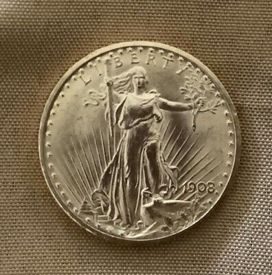 1908 St. Gaudens $20 Double Eagle Gold Coin BU