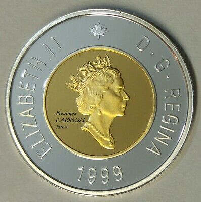 1999 Canada Silver Proof Toonie, 24 Kt Gold Plated