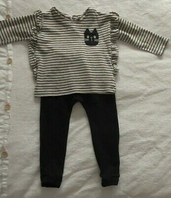 Next Younger Girls Cat Top & Black Joggers Outfit Size 2-3 Years