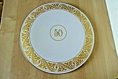 Royal WORCESTER China Cake Plate Stand 50 Birthday Golden Wedding Anniversary