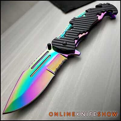TACTICAL Spring Assisted Open Pocket Knife CLEAVER RAZOR FOLDING Rainbow Blade