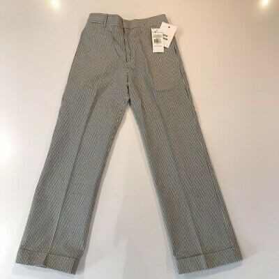 Polo Ralph Lauren Blue and White Searsucker Straight Trousers Girls Age 8