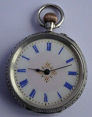 Swiss antique solid silver fob pocket watch with gilt dial & blue numerals.Works