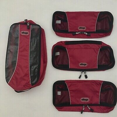 Packing Cubes eBags Lot of 3 Slim Classic Cubes and Shoe Bag in Raspberry - EUC