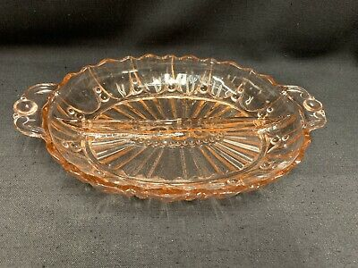 Vintage Pink Depression Glass Divided Dish Relish Oyster & Pearl Anchor Hocking