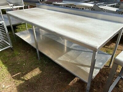 """Heavy Duty 95.5"""" x 37.5"""" Commercial Stainless Steel Polytop Meat Cutting Table"""