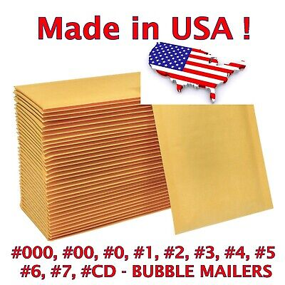Quality Kraft Bubble Mailers Padded Envelopes Size 000 00 0 1 2 3 4 5 6 7 CD DVD