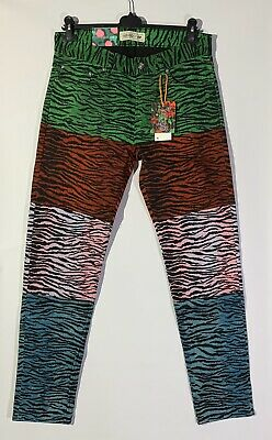 KENZO x H/&M Patchwork Leopard Patterned Jeans Pants Men Unisex 29 30 33 Blue Red