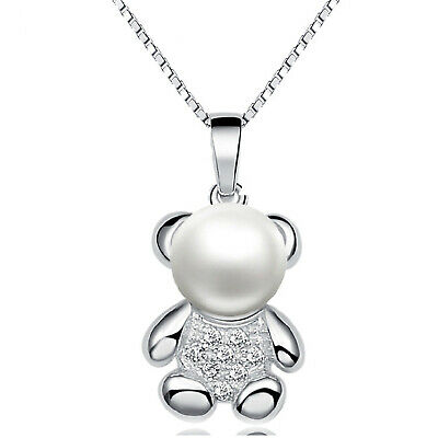 REAL SOLID SILVER 925 Classic Sterling Silver Necklace & Pendant Bear-015