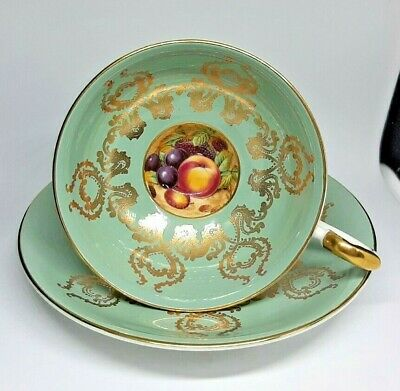 Aynsley Orchard Fruit Footed  Cup & Saucer - Green & Gold 2832 VGC